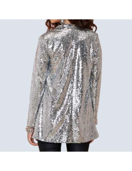 Women's Silver Sequin Cardigan with Pockets (Back View)