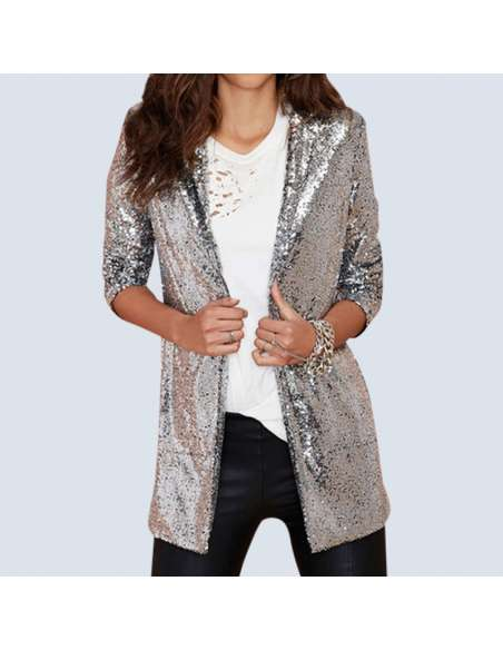 Women's Silver Sequin Cardigan with Pockets