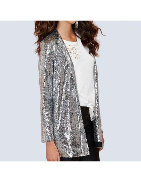 Women's Silver Sequin Cardigan with Pockets (Side View)