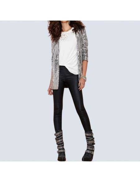 Women's Silver Sequin Cardigan with Pockets (Front View)