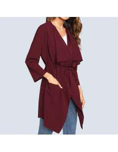 Women's Wine Red Waterfall Drape Cardigan