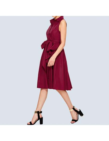 Magenta Shirt Dress with Pockets (Side View)