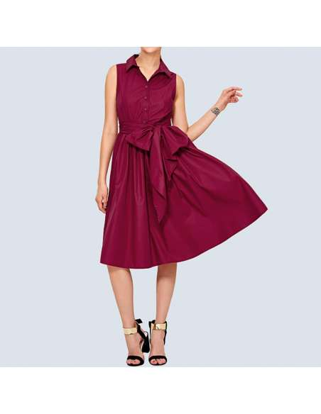 Magenta Shirt Dress with Pockets (Front View)