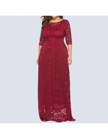 Red Plus Size Lace Maxi Dress with Pockets