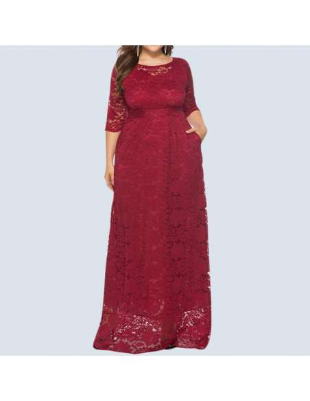 Red Plus Size Lace Maxi Dress with Pockets (Front)