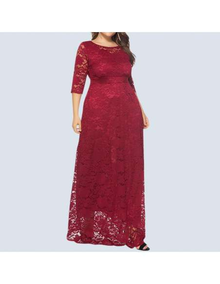 Red Plus Size Lace Maxi Dress with Pockets (Front View)
