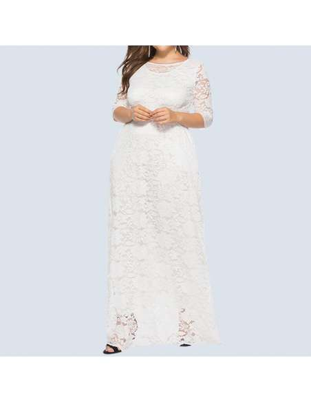 White Plus Size Lace Maxi Dress with Pockets