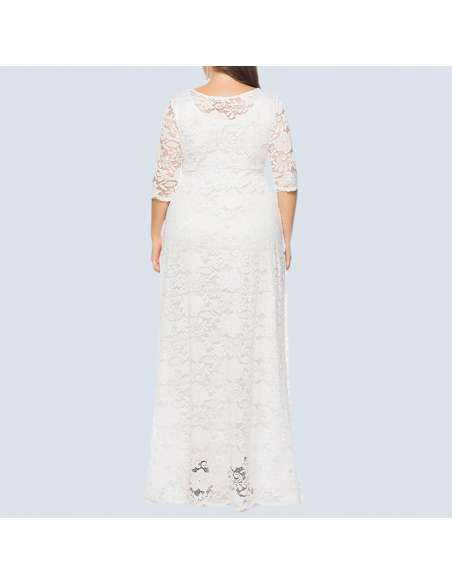 White Plus Size Lace Maxi Dress with Pockets (Back View)