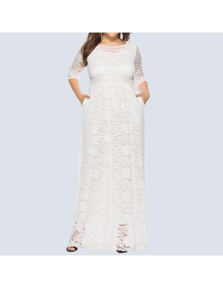 White Plus Size Lace Maxi Dress with Pockets (Front)
