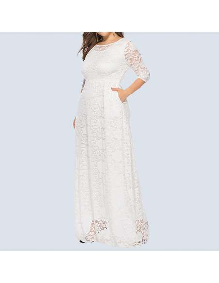 White Plus Size Lace Maxi Dress with Pockets (Front View)