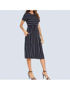 Navy Striped Midi Dress with Pockets (Front View)