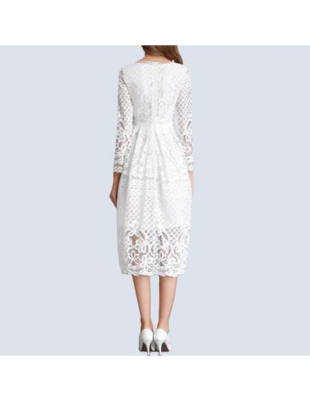 White Hollow Out Lace Pocket Dress (Back View)
