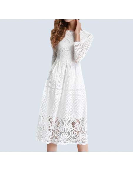 White Hollow Out Lace Pocket Dress (Front)