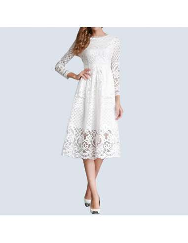 White Hollow Out Lace Pocket Dress (Front View)