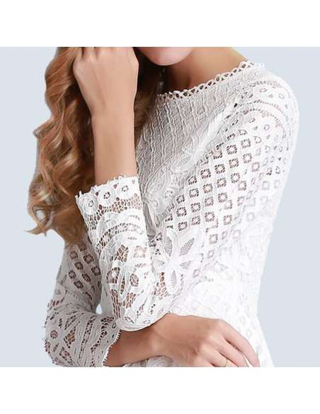 White Hollow Out Lace Pocket Dress (Bodice Closeup)