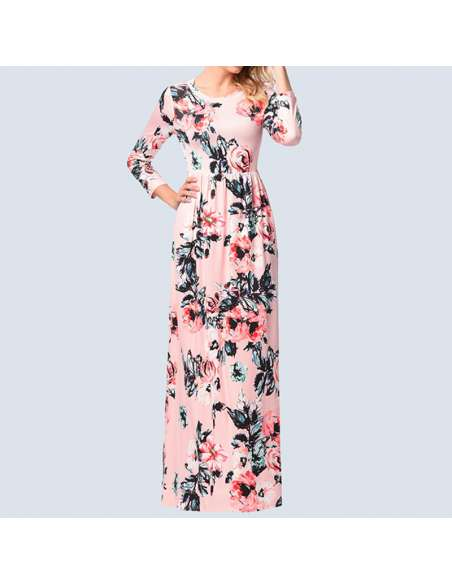 Pink Long-Sleeved Floral Maxi Dress with Pockets
