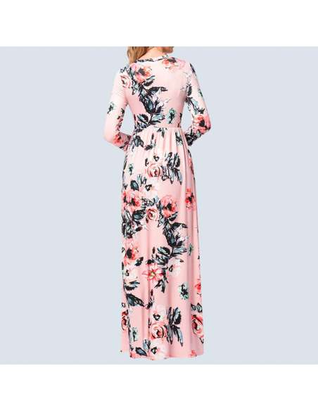 Pink Long-Sleeved Floral Maxi Dress with Pockets (Back)