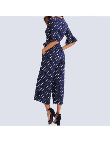 Navy Blue Polka Dot Jumpsuit with Pockets (Back View)