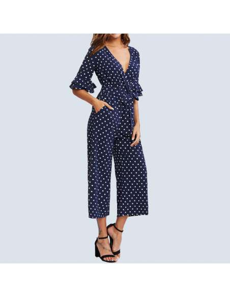 Navy Blue Polka Dot Jumpsuit with Pockets