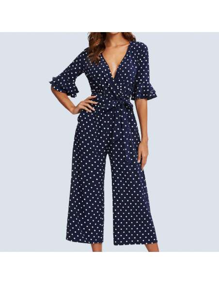 Navy Blue Polka Dot Jumpsuit with Pockets (Front View)