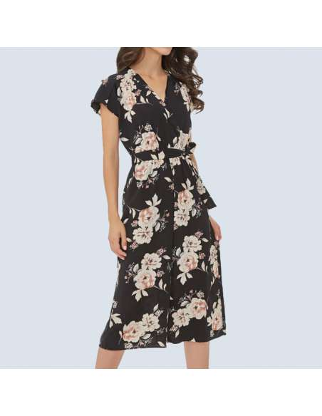 Black Floral Culotte Jumpsuit with Pockets (Front View)