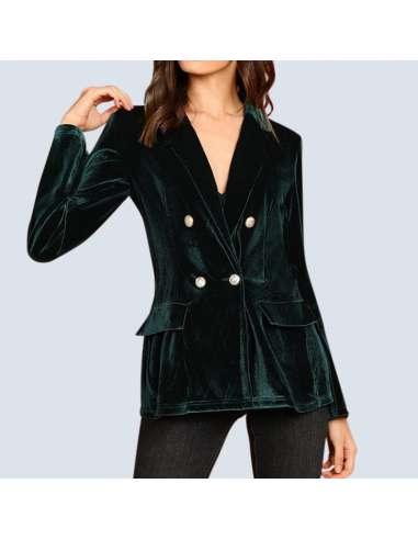 Women's Green Velvet Jacket with Pockets (Front View)