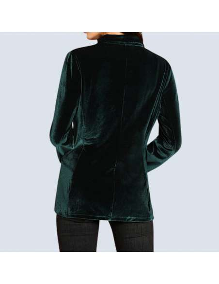 Women's Green Velvet Jacket with Pockets (Back View)