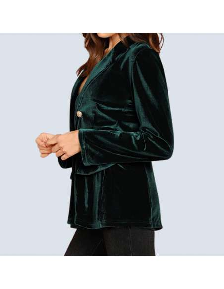 Women's Green Velvet Jacket with Pockets (Side View)