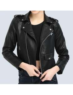 Black Faux Leather Moto Jacket with Pockets