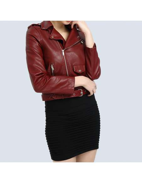 Crimson Red Faux Leather Moto Jacket with Pockets (Mid Front View)