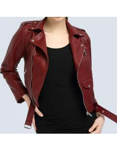 Crimson Red Faux Leather Moto Jacket with Pockets