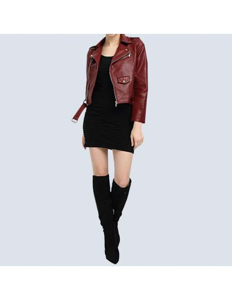 Crimson Red Faux Leather Moto Jacket with Pockets (Front View)
