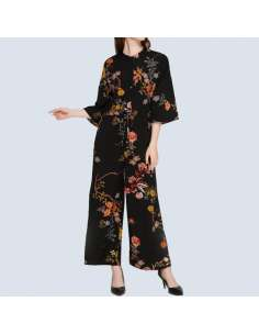 Black Floral Print Pocket Jumpsuit (Front View)