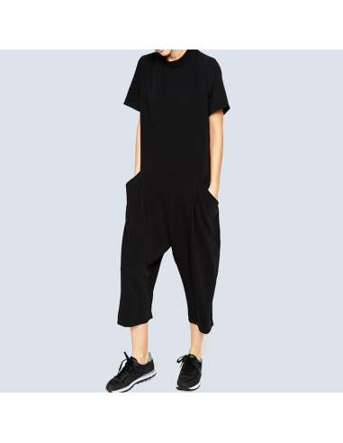 Black Casual Short-Sleeve Pocket Jumpsuit (Front View)