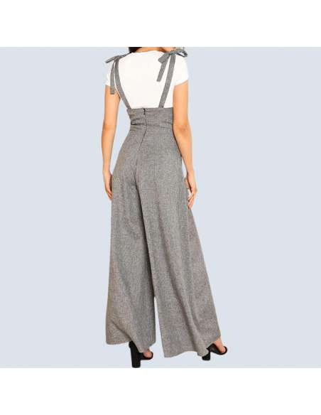 Gray Wide Leg Suspender Jumpsuit with Pockets (Back View)