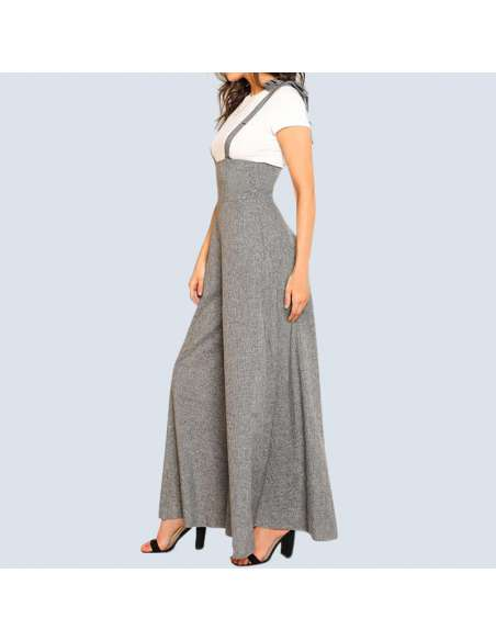 Gray Wide Leg Suspender Jumpsuit with Pockets (Side View)