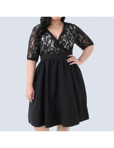 Black Plus Size Vintage Lace Party Dress (Front View)