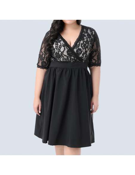Black Plus Size Vintage Lace Party Dress (Front)