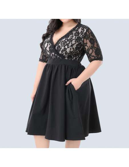Black Plus Size Vintage Lace Party Dress