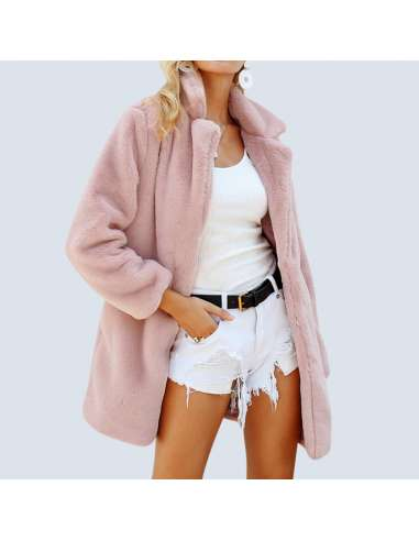 Women's Pink Fluffy Faux Fur Jacket with Pockets