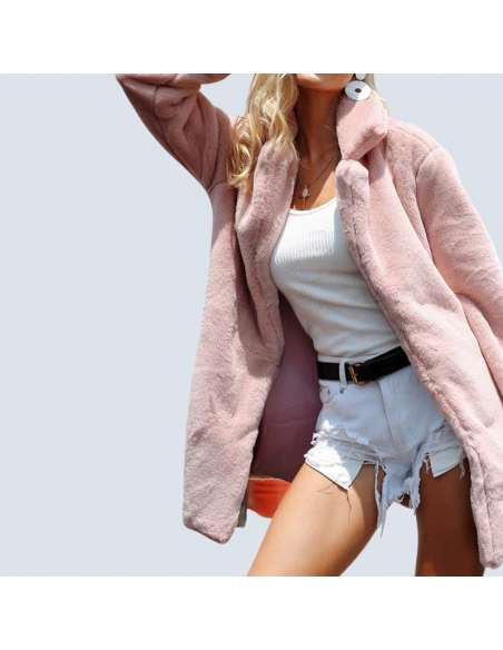 Women's Pink Fluffy Faux Fur Jacket with Pockets (Front)