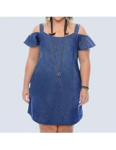 Plus Size Blue Denim Cold Shoulder Dress with Pockets