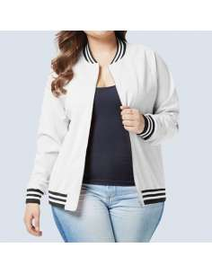 Women's White Plus Size Baseball Jacket with Pockets