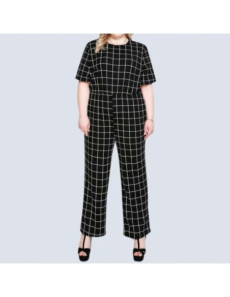 Women's Plus Size Black & White Check Jumpsuit with Pockets (Front View)