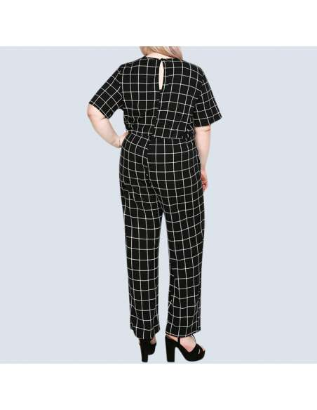 Women's Plus Size Black & White Check Jumpsuit with Pockets (Back View)