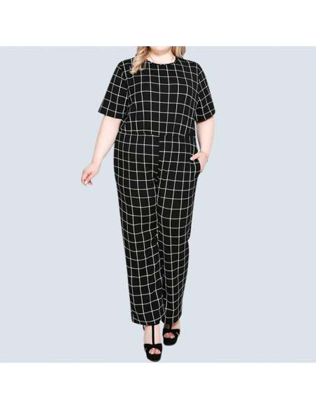 Women's Plus Size Black & White Check Jumpsuit with Pockets (Front)