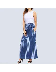 Blue & White Striped Maxi Dress with Pockets