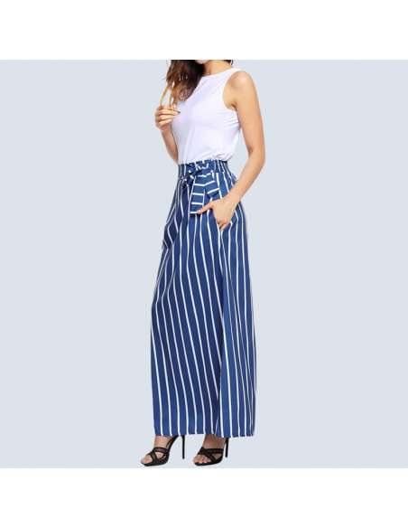 Blue & White Striped Maxi Dress with Pockets (Front View)