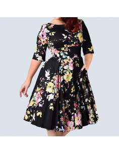 Plus Size Black Vintage Floral Dress with Pockets