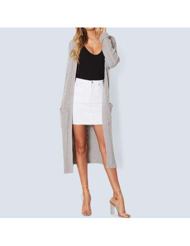 Women's Gray Long Cable Knit Cardigan with Pockets